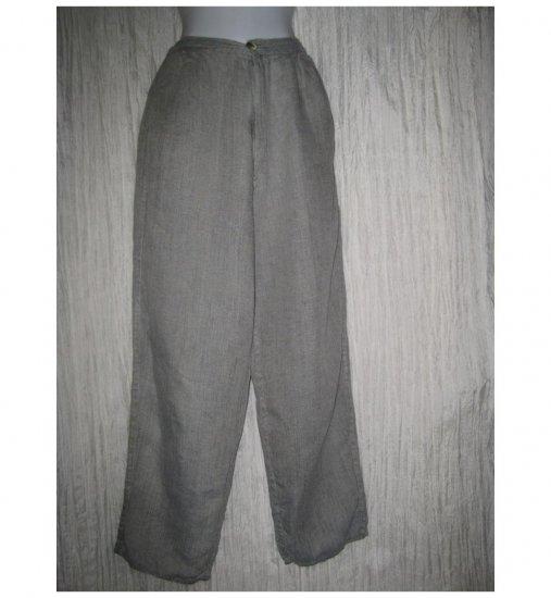 FLAX by Jeanne Engelhart Long & Lean Gray Linen Trousers Pants Small