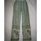 NWT Exist Green Patterned Cotton Drawstring Pants Large L