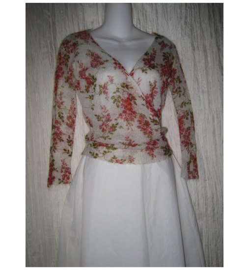 Free People Soft Mohair Floral Faux Wrap Sweater Medium M