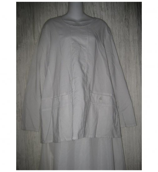 Jeanne Engelhart FLAX White Cotton Rayon Tunic Top Shirt Small S