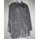 J. Jill Long Shapely Gray Velvet Tunic Top Button Shirt Medium M