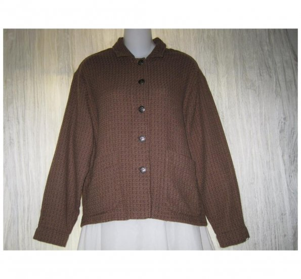 Jeanne Engelhart FLAX Boxy Brown Linen Tunic Top Shirt Jacket Small S