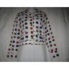 SOLITAIRE Shapely White Dots Cotton Button Jacket Small S