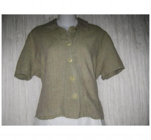 Jeanne Engelhart FLAX Green Linen Button Shirt Tunic Top Medium M