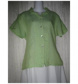Jeanne Engelhart FLAX Green Linen Button Shirt Tunic Top Small S