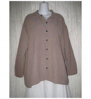 Jeanne Engelhart FLAX Brown Linen Button Shirt Tunic Top Large L