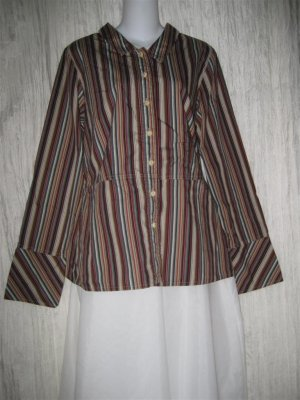 Solitaire Shapely Striped Cotton Button Shirt Tunic Top X-Large XL