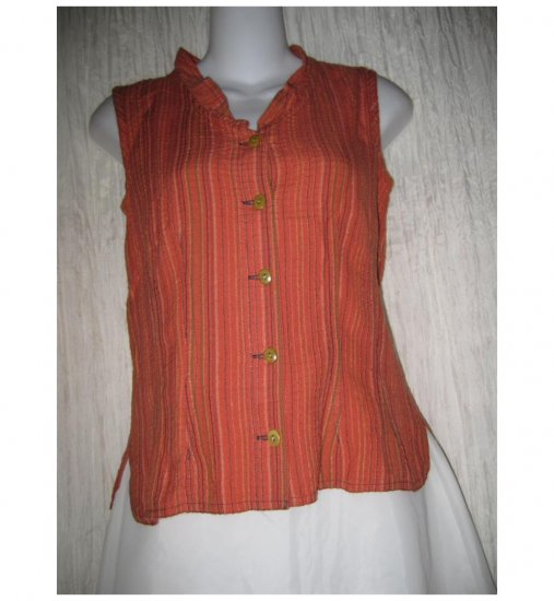 SOLITAIRE Shapely Orange Linen Rayon Shirt Top Small S
