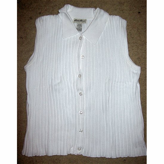 EDDIE BAUER White Ribbed Sleeveless Pullover SMALL