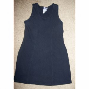 Black Ribbed Sleeveless Mini Dress MEDIUM