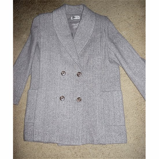 HERMAN KAY Herringbone Wool Car Coat Size 8 ~~ FREE SHIPPING ~~