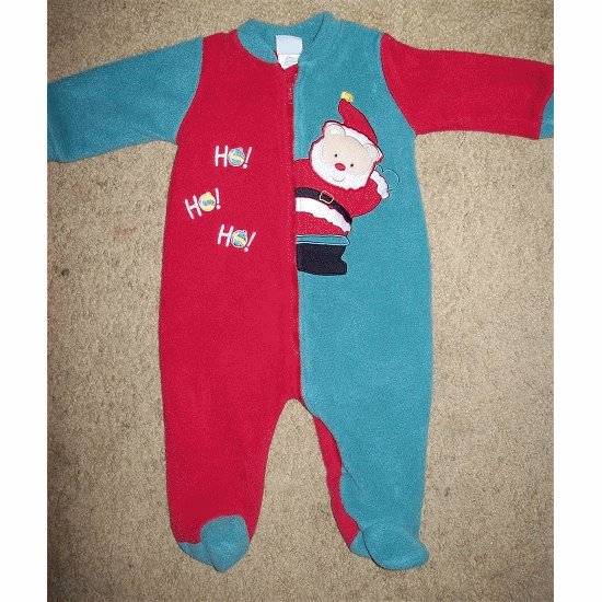 LITTLE ME Red Fleece SANTA Romper Sleeper 6 months