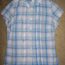 SO JEANS Blue Plaid Blouse MEDIUM Girls 10-12