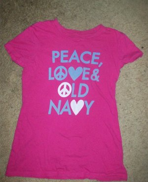 Pink Tee Peace Love and OLD NAVY XSMALL Size 0-3