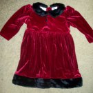 Red Velvet with Faux Fur Trim ROSE COTTAGE Dress Girls Size 24 months