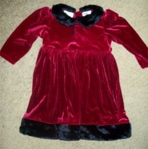Red Velvet with Faux Fur Trim ROSE COTTAGE Dress Girls Size 24 months