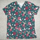 TAFFORD Santa Snowman and Reindeer Print Scrub Top Ladies MEDIUM