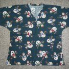 Green Snowman Print Scrub Top Ladies MEDIUM