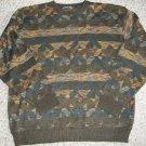 NORTHERN ISLES Brown Print Lightweight Sweater Mens XLARGE