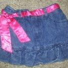KOALA KIDS Denim Skort with Pink Ribbon Belt Girls Size 36 months