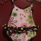 FLAP HAPPY Pink and Brown Floral Bathing Suit with Diaper Cover Girls 6 months