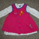 2 DRESSES IN ONE Pink POOH Jumper and Floral Long Sleeved Dress Girls 24 months