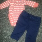 CARTER'S Striped Bodysuit Top and BABY GAP Navy Chinos Boys 3 months