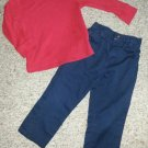 THE CHILDREN'S PLACE Red Long Sleeved Top Blue Chinos Pants Boys Size 3T