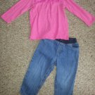 JUMPING BEANS Pink Babydoll Top CARTER'S Denim Jeans Girls Size 24 months
