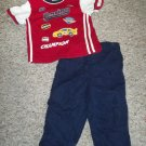 Boys Navy Blue and Red RACING Top and Athletic Pants Size 24 months