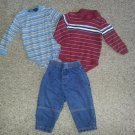 Lot of Striped One Piece Bodysuits and Pair of Denim Jeans Boys Size 18 months