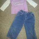 JUMPING BEANS Purple Princess Top FADED GLORY Denim Jeans Girls Size 2T