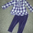 CHILDREN'S PLACE Purple Checked Baby Doll Leggings Set Girls 24 months