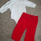 HARTSTRINGS Farm Equipment Turtleneck OLD NAVY Red Cord Pants Boys 3-6 months