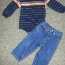 CARTER'S Navy Striped Turtleneck Bodysuit TCP Denim Jeans Boys Size 18 months