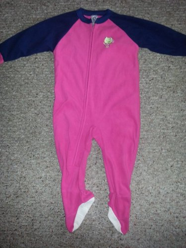 GERBER Pink and Navy Frog Fleece Blanket Sleeper Girls Size 24 months