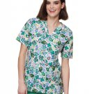 NEW Tafford 2 Pocket Green Fish Print Scrub Top Womans Plus Size 2X