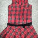 BASIC EDITIONS Red Plaid Jumper Dress Girls Size 4-5