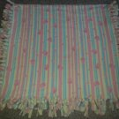 "NEW Handmade Reversible Knotted Fringed Flannel Baby Blanket 50"" x 26"""