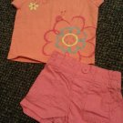 JUMPING BEANS Pink and Peach Short Set Girls Size 6-9 months