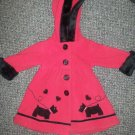 SOPHIE ROSE Red Heavy Fleece Hooded Scottie Dog Dress Coat Girls Size 12 months