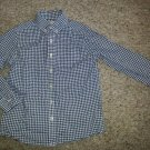 LANDS' END Blue Checked Long Sleeved Button Poplin Shirt M Boys Size 5-6