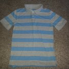CHEROKEE Gray and Blue Striped Polo Top Boys Size 12-14