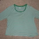 ST JOHN'S BAY Green Striped Scoop Neck Top Womans Plus Size 2X