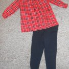 CARTER'S Sparkly Red Plaid and Black Leggings Pant Set Girls Size 24 months