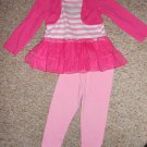 KIDGETS Pink Tulle Tutu Tunic Top and Leggings Pant set Girls Size 24 months