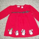 BT KIDS Red Holiday Penguins Tunic Dress Girls Size 5
