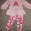 CARTER'S Pink Fleece Monkey and Flowers Leggings Pant Set Girls 24 months
