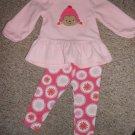 CARTER'S Pink Fleece Monkey and Flowers Leggings Pant Set Girls 24 months