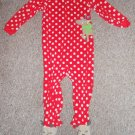 CARTER'S Red Polka Dot Reindeer Fleece Blanket Sleeper Toddler Size 3T